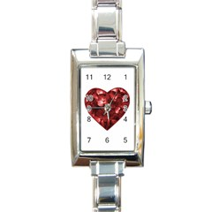Floral Heart Shape Ornament Rectangle Italian Charm Watch by dflcprints