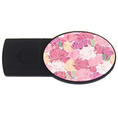 Peonies Flower Floral Roes Pink Flowering Usb Flash Drive Oval (2 Gb) by Jojostore