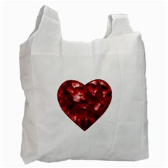 Floral Heart Shape Ornament Recycle Bag (two Side)  by dflcprints