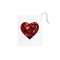 Floral Heart Shape Ornament Drawstring Pouches (xs)  by dflcprints