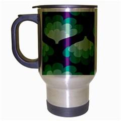 Purple Flower Fan Travel Mug (silver Gray) by Jojostore