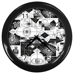Point Line Plane Themed Original Design Wall Clocks (black)