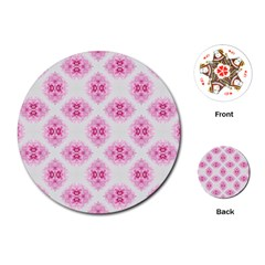 Peony Photo Repeat Floral Flower Rose Pink Playing Cards (round)  by Jojostore