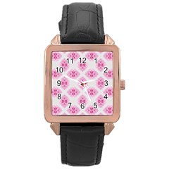 Peony Photo Repeat Floral Flower Rose Pink Rose Gold Leather Watch  by Jojostore