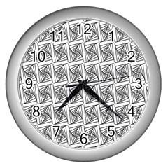 Plaid Black Wall Clocks (Silver)