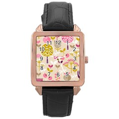 Retro Fruit Leaf Tree Orchard Rose Gold Leather Watch  by Jojostore