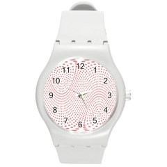Red Circle Round Plastic Sport Watch (m) by Jojostore