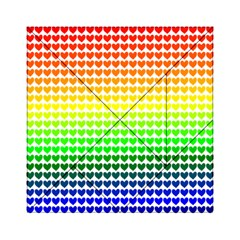 Rainbow Love Heart Valentine Orange Yellow Green Blue Acrylic Tangram Puzzle (6  X 6 ) by Jojostore
