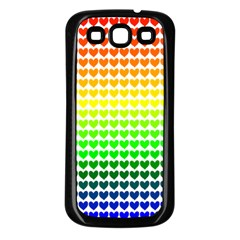 Rainbow Love Heart Valentine Orange Yellow Green Blue Samsung Galaxy S3 Back Case (black) by Jojostore