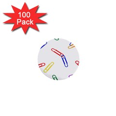 Scattered Colorful Paper Clips 1  Mini Buttons (100 pack)