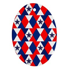 Patriotic Red White Blue 3d Stars Ornament (oval)