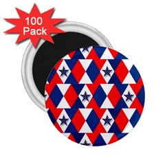Patriotic Red White Blue 3d Stars 2 25  Magnets (100 Pack)  by Nexatart