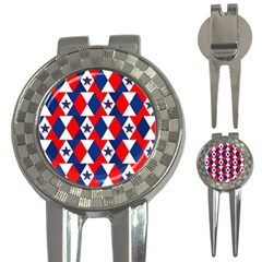 Patriotic Red White Blue 3d Stars 3-in-1 Golf Divots by Nexatart