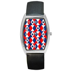 Patriotic Red White Blue 3d Stars Barrel Style Metal Watch by Nexatart