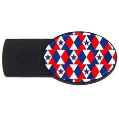 Patriotic Red White Blue 3d Stars Usb Flash Drive Oval (4 Gb) by Nexatart