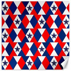 Patriotic Red White Blue 3d Stars Canvas 12  X 12   by Nexatart