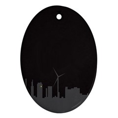 Windmild City Building Grey Ornament (oval) by Jojostore