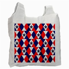 Patriotic Red White Blue 3d Stars Recycle Bag (one Side)