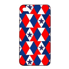 Patriotic Red White Blue 3d Stars Apple Iphone 4/4s Seamless Case (black) by Nexatart