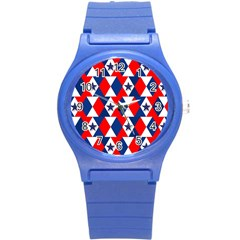 Patriotic Red White Blue 3d Stars Round Plastic Sport Watch (s) by Nexatart