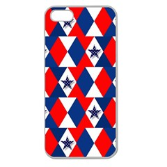 Patriotic Red White Blue 3d Stars Apple Seamless Iphone 5 Case (clear) by Nexatart