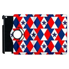 Patriotic Red White Blue 3d Stars Apple Ipad 3/4 Flip 360 Case by Nexatart