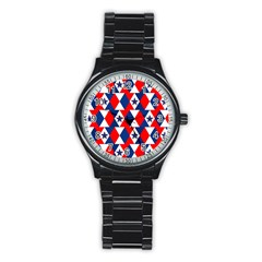 Patriotic Red White Blue 3d Stars Stainless Steel Round Watch by Nexatart