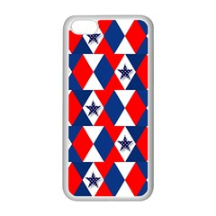 Patriotic Red White Blue 3d Stars Apple Iphone 5c Seamless Case (white) by Nexatart