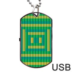Pattern Grid Squares Texture Dog Tag Usb Flash (one Side)