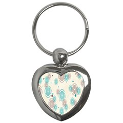 Small Circle Blue Brown Key Chains (Heart)