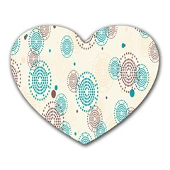 Small Circle Blue Brown Heart Mousepads by Jojostore