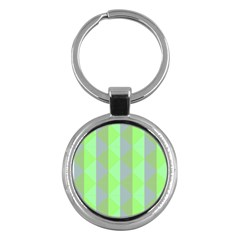 Squares Triangel Green Yellow Blue Key Chains (round)  by Jojostore