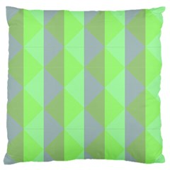 Squares Triangel Green Yellow Blue Large Flano Cushion Case (two Sides)