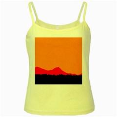 Sunset Orange Simple Minimalis Orange Montain Yellow Spaghetti Tank by Jojostore
