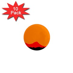 Sunset Orange Simple Minimalis Orange Montain 1  Mini Magnet (10 Pack)  by Jojostore