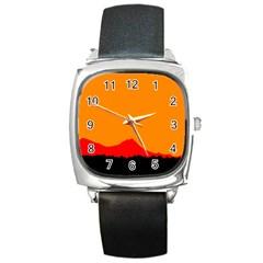 Sunset Orange Simple Minimalis Orange Montain Square Metal Watch by Jojostore