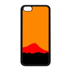 Sunset Orange Simple Minimalis Orange Montain Apple Iphone 5c Seamless Case (black) by Jojostore
