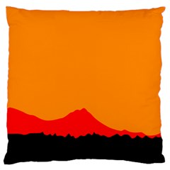 Sunset Orange Simple Minimalis Orange Montain Standard Flano Cushion Case (Two Sides) by Jojostore
