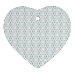Web Grey Flower Pattern Heart Ornament (two Sides) by Jojostore