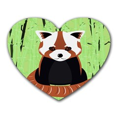 Red Panda Bamboo Firefox Animal Heart Mousepads