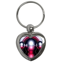Red 3d  Computer Work Key Chains (heart)  by Nexatart