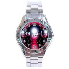 Red 3d  Computer Work Stainless Steel Analogue Watch by Nexatart