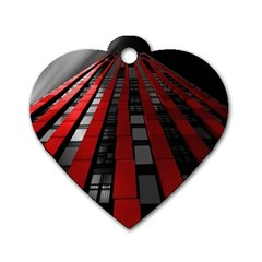 Red Building City Dog Tag Heart (one Side)