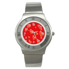 Red Hearts Stainless Steel Watch by Nexatart