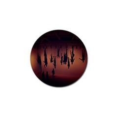 Silhouette Of Circus People Golf Ball Marker by Nexatart