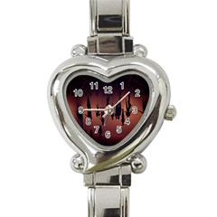 Silhouette Of Circus People Heart Italian Charm Watch