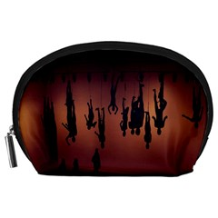 Silhouette Of Circus People Accessory Pouches (large)