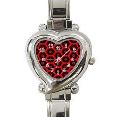 Red Bee Hive Texture Heart Italian Charm Watch