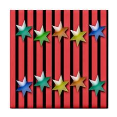 Star Christmas Greeting Tile Coasters