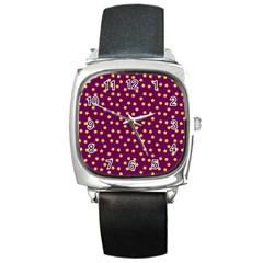 Star Christmas Red Yellow Square Metal Watch